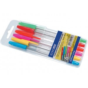 Набір кулькових ручок ECONOMIX STANDART. 6 кольорів чорнил, в блістері