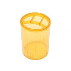Подставка для ручек на 4 отделения Economix, пластик, лимонная