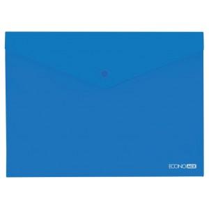 """Папка-конверт В5 прозрачная на кнопке Economix, 180 мкм, фактура """"глянец"""", синяя E31302-02"""