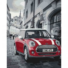 Картина за номерами Міський пейзаж  Mini Cooper  40*50см пензлі + фарби в комплекті