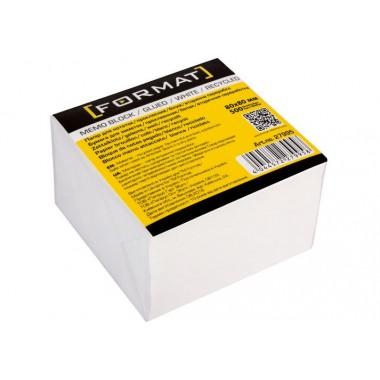 Бумага для заметок 80х80 мм Format, 500 л., Проклеен, белая макулатурная F27995