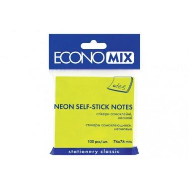 Блок для заметок с клейким слоем 75х75 мм Economix, 100 л., Неон салатовый E20944-13