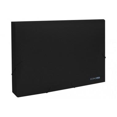 """Папка-бокс пластиковая А4 на резинках Economix, 40 мм, фактура """"бриллиант"""", черная"""