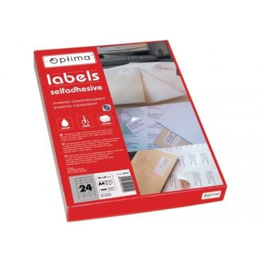 Етикетки самоклеючі Optima 1 етикетка на весь аркуш. 210x297 мм, А4 100 л. O25101