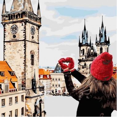 Картина за номерами ідейка Міський пейзаж З любов'ю в серці 40 * 40 см пензлі + фарби в комплекті