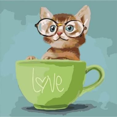 Картина за номерами ідейка Lovely kitten 40 * 40 см пензлі + фарби в комплекті