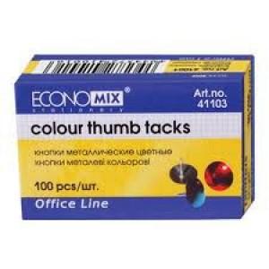 Кнопки металеві Economix, кольорові, 100 шт.