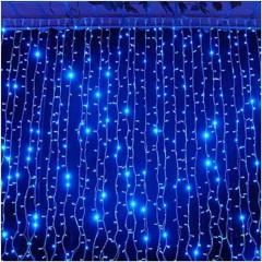 Гирлянда электрическая штора 3*1метра Синяя 280 лампочек LED