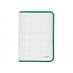 Папка-пенал пластиковая на молнии Economix, А4, прозрачная, фактура: ткань, молния зеленая
