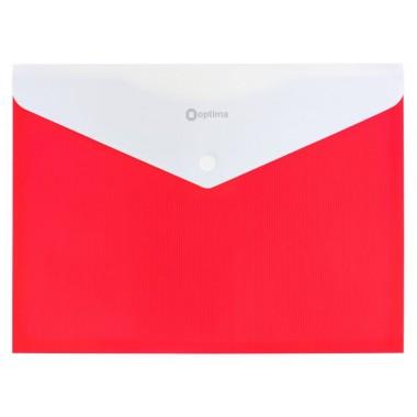 """Папка-конверт А4 непрозрачная на кнопке Optima, 180 мкм, фактура """"ПОЛОСА"""", красная O31315-03"""