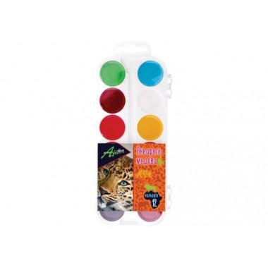 """Фарби акварельні медові """"Africa"""", 12 кольорів, без пензлика, пластик, Economix"""