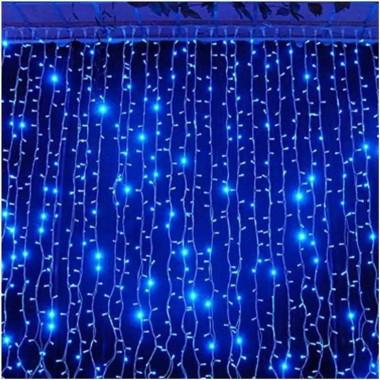 Гірлянда електрична штора 3 * 1метра Синя 280 лампочок LED