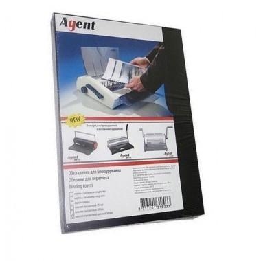 Обкладинка для брошурування А4 під шкіру Agent 230г черн, уп/100.