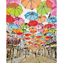 Картина за номерами Міський пейзаж  Яскрава вуличка 2  40*50см пензлі + фарби в комплекті