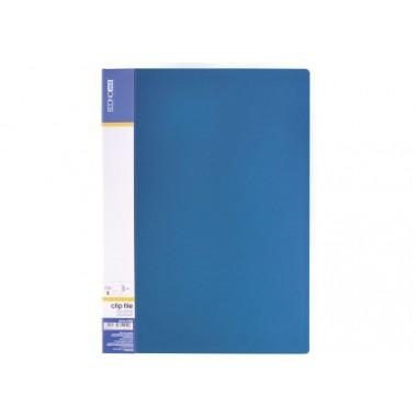 Папка А4 з боковим притиском Economix CLIP В Light, синя