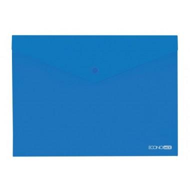 """Папка-конверт А5 прозрачная на кнопке Economix, 180 мкм, фактура """"глянец"""", синяя E31316-02"""
