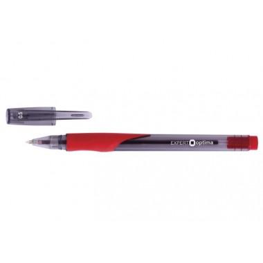 Ручка кулькова OPTIMA EXPERT 0,5 мм. Корпус напіврозорий, пише червоним
