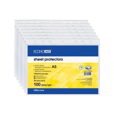 """Файл для документів А5 Economix, 30 мкм, фактура """"глянець"""" (100 шт / уп) E31104"""