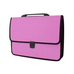 Портфель на застібці, фактура «Вишиванка», рожевий