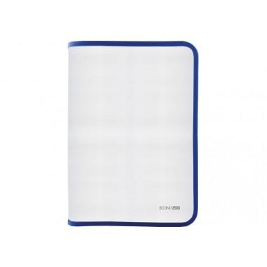 Папка-пенал пластикова на блискавці Economix, А4, прозора, фактура: тканина, блискавка  синя
