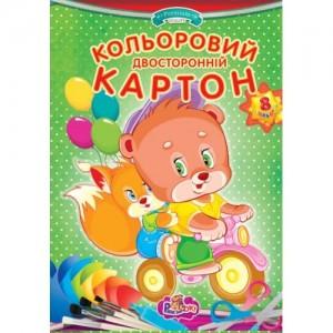 Двусторонний цветной картон ф. А4,8 листов, папка