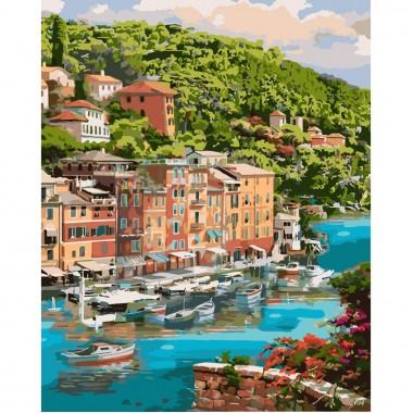 Картина за номерами ідейка Мальовнича бухта 40 * 50см пензлі + фарби в комплекті
