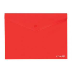 """Папка-конверт А4 прозрачная на кнопке Economix, 180 мкм, фактура """"глянец"""", красная E31301-03"""