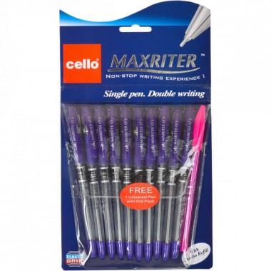 Ручка масляна MAXRITER 727 + 1 Cello фіолетова