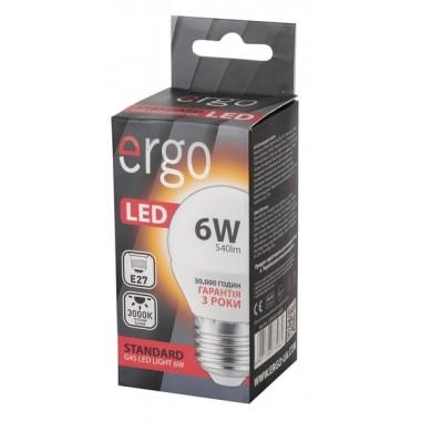 Lamp ERGO Standard G45 E27 6W 220V Тепл.Бел. 3000K Мат. н/Дим.