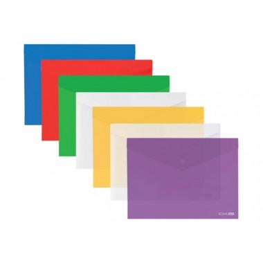 "Папка-конверт А3 прозора кнопку Economix, 180 мкм, фактура ""глянець"", асорті E31317"