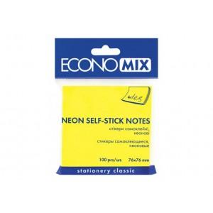 Блок для заметок с клейким слоем 75х75 мм Economix, 100 л., Неон желтый E20944-05