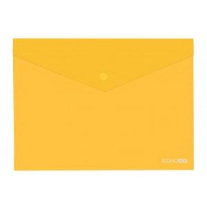 """Папка-конверт В5 прозрачная на кнопке Economix, 180 мкм, фактура """"глянец"""", желтая E31302-05"""