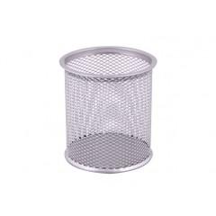Подставка для ручек круглая, d 85х100 мм, металл сетка, серебряная