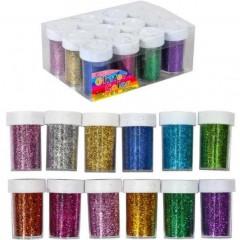 Блискітки (гліттер) 144г 12 кольорів 12шт. в упаковці (ціна за 1 шт.)