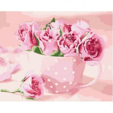 Картина за номерами ідейка Квіти Чайні троянди 40 * 50 пензля + фарби в комплекті