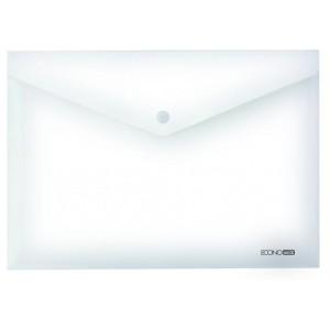 """Папка-конверт В5 на кнопке Economix, 180 мкм, фактура """"глянец"""", прозрачная E31302-00"""