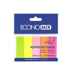 Закладки з клейким шаром 15х45 мм Economix, 150 шт., Паперові, 5 неонових кольорів E20935