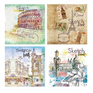 Альбом для рисования Sketch-book формат 205мм х 205мм 40 л, целлюлозный картон, УФ-лак, офс крем. 100г / м2, на спирали СБ-3