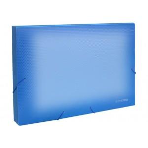 """Папка-бокс пластиковая А4 на резинках Economix, 20 мм, фактура """"бриллиант"""", прозрачно-синяя"""