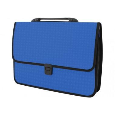 Портфель на застібці, фактура «Вишиванка», синій