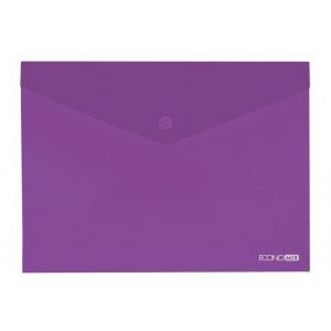 """Папка-конверт А5 прозрачная на кнопке Economix, 180 мкм, фактура """"глянец"""", фиолетовая E31316-12"""