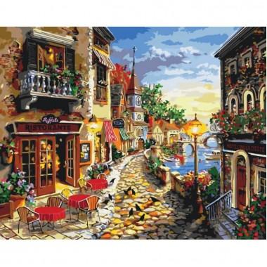 Картина по номерам Идейка Уютная улочка 40 * 50см кисти + краски в комплекте