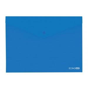 """Папка-конверт А4 прозрачная на кнопке Economix, 180 мкм, фактура """"глянец"""", синяя E31301-02"""