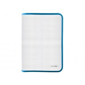 Папка-пенал пластиковая на молнии В5, фактура: ткань, голубой