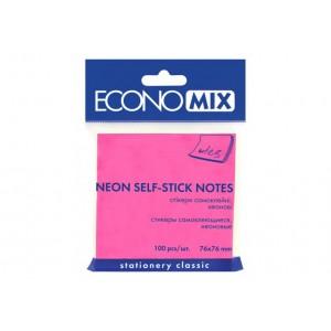 Блок для заметок с клейким слоем 75х75 мм Economix, 100 л., Неон розовый. E20944-09
