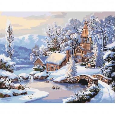 Картина по номерам Идейка Зимнее утро 40 * 50см кисти + краски в комплекте