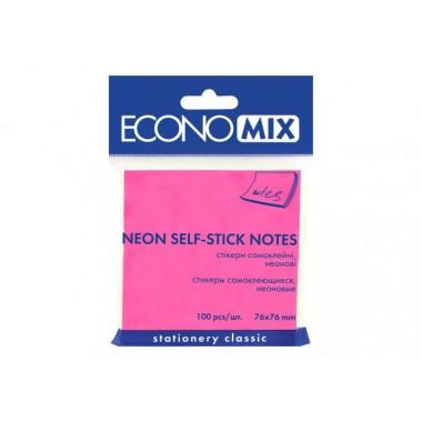 Блок для заміток з клейким шаром 75х75 мм Economix, 100 л., Неон рожевий. E20944-09