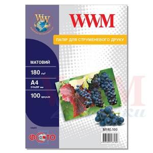 Фотопапір WWM матовий 180Г/м кв, A4, 100л (M180.100)