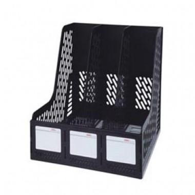 Лоток для паперу вертикальний збірний на 3 відділення, пластик, чорний