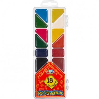 Фарби акварельні, медові 18 кол. без пензлика, Мозаїка